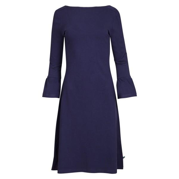 Kleid Blau 3/4 Arm Blau Knielang ausgestellt Stretch Tailliert Bio Baumwolle Tranquillo Größe M